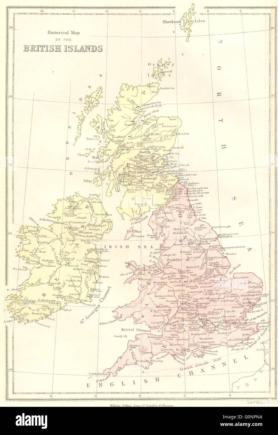 Map Of Uk 1066.Uk Historical British Isles From 1066 1870 Antique Map