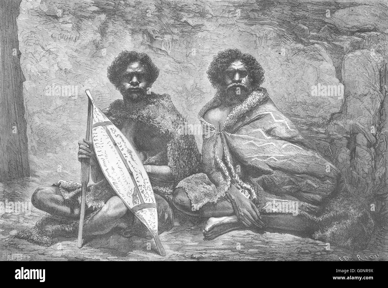 AUSTRALIA: Natives Shield of Bark Eucalyptus, antique print 1870 - Stock Image