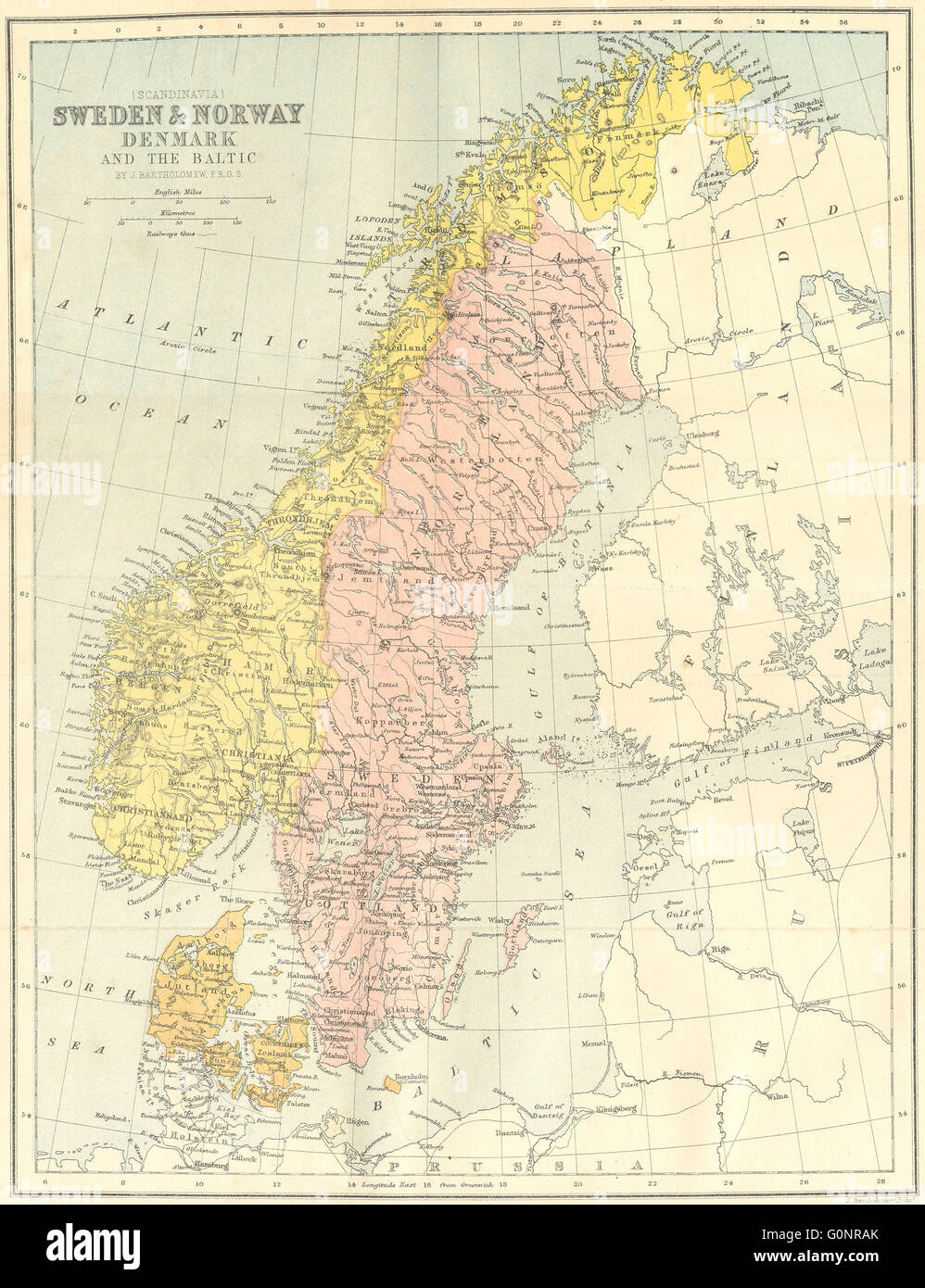 Sweden norway denmark baltic 1871 antique map stock photo sweden norway denmark baltic 1871 antique map gumiabroncs Images