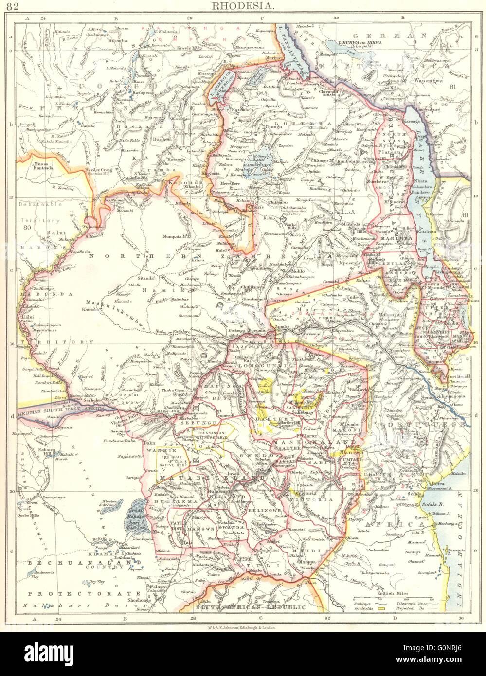RHODESIA. Goldfields (yellow). Zambesia. Zambia Malawi Zimbabwe, 1899 old map - Stock Image