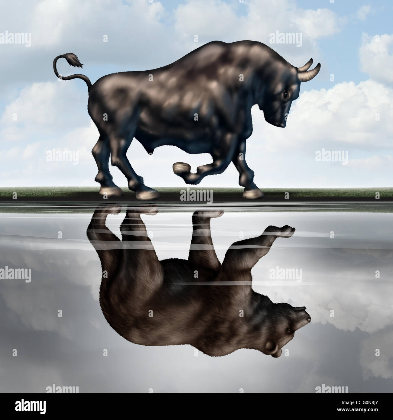 Investing warning signs as a financial stock market metaphor with a bull creating a reflection in the water of a - Stock Image
