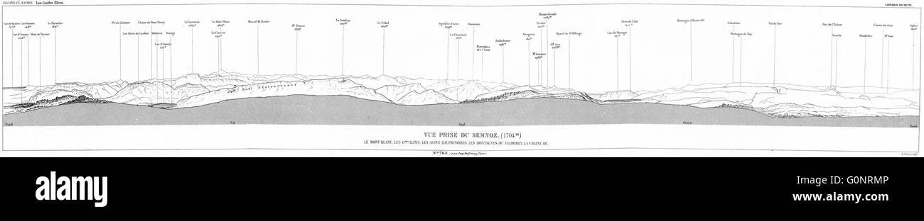 HAUTE-SAVOIE: Annecy: Prise du Semnoz(1704m), 1934 vintage map - Stock Image