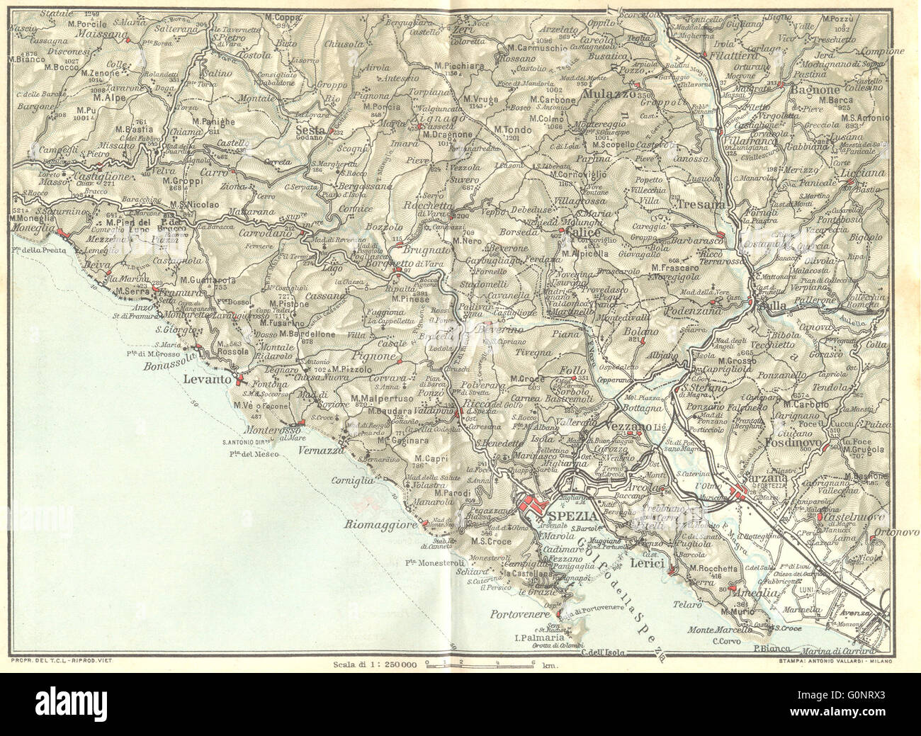 Italy Moneglia La Spezia Levanto Sarzana 1926 Vintage Map Stock