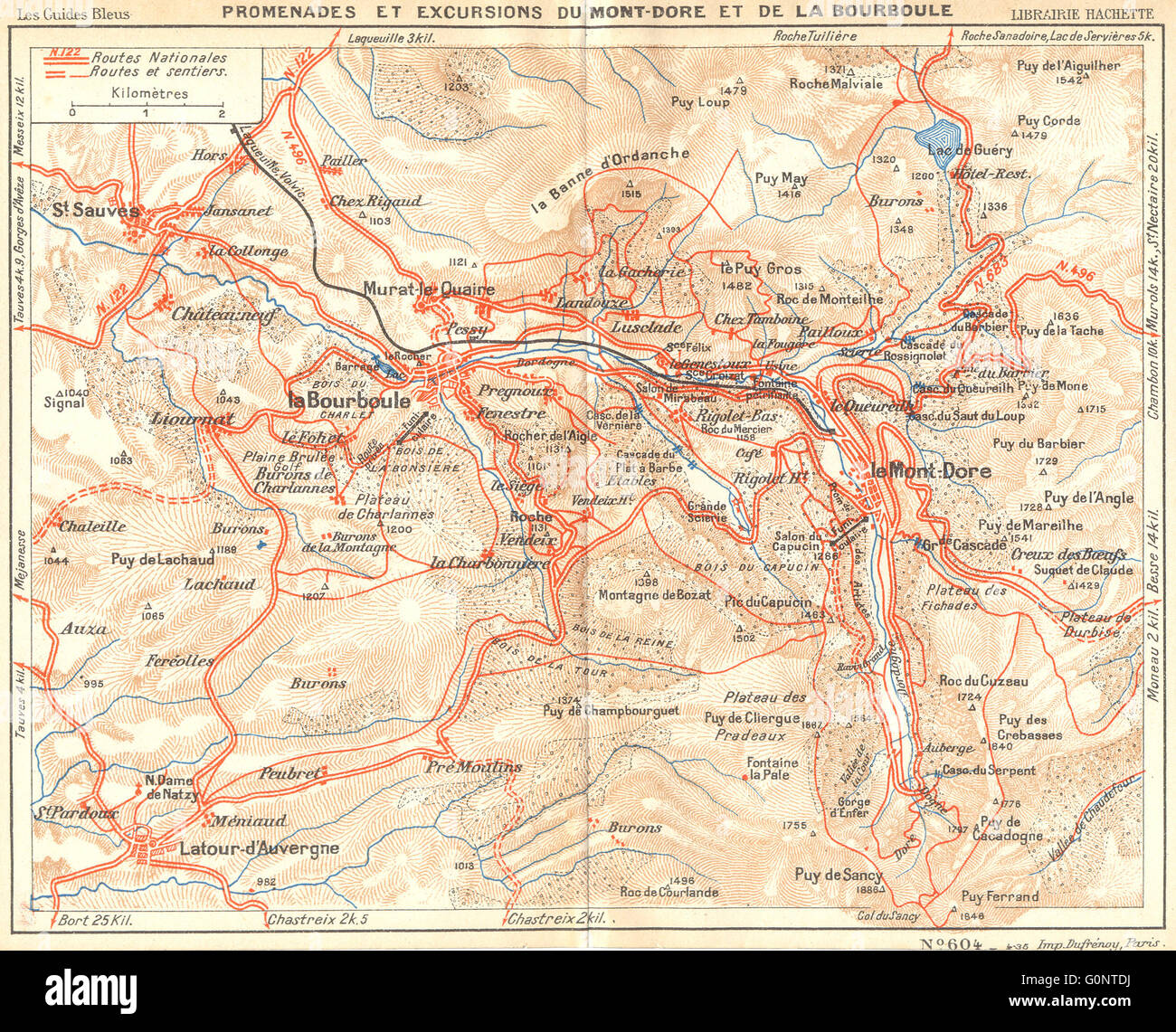 PUY-DE-DÔME: Du Mont-Dore Bourboule, 1935 vintage map Stock Photo