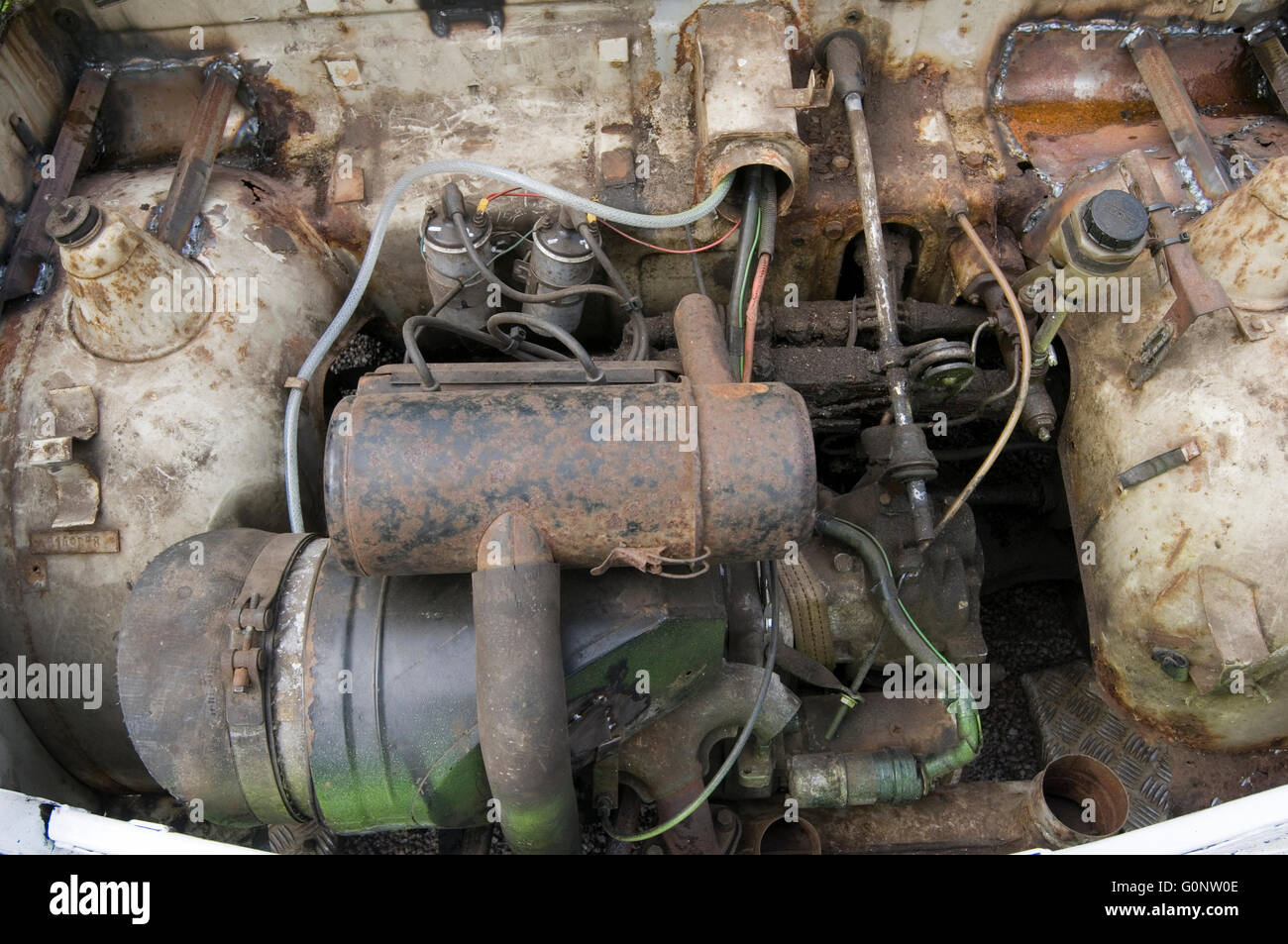 trabant car cars engine 500cc two stroke motor internal combustion can be removed with one spanner - Stock Image