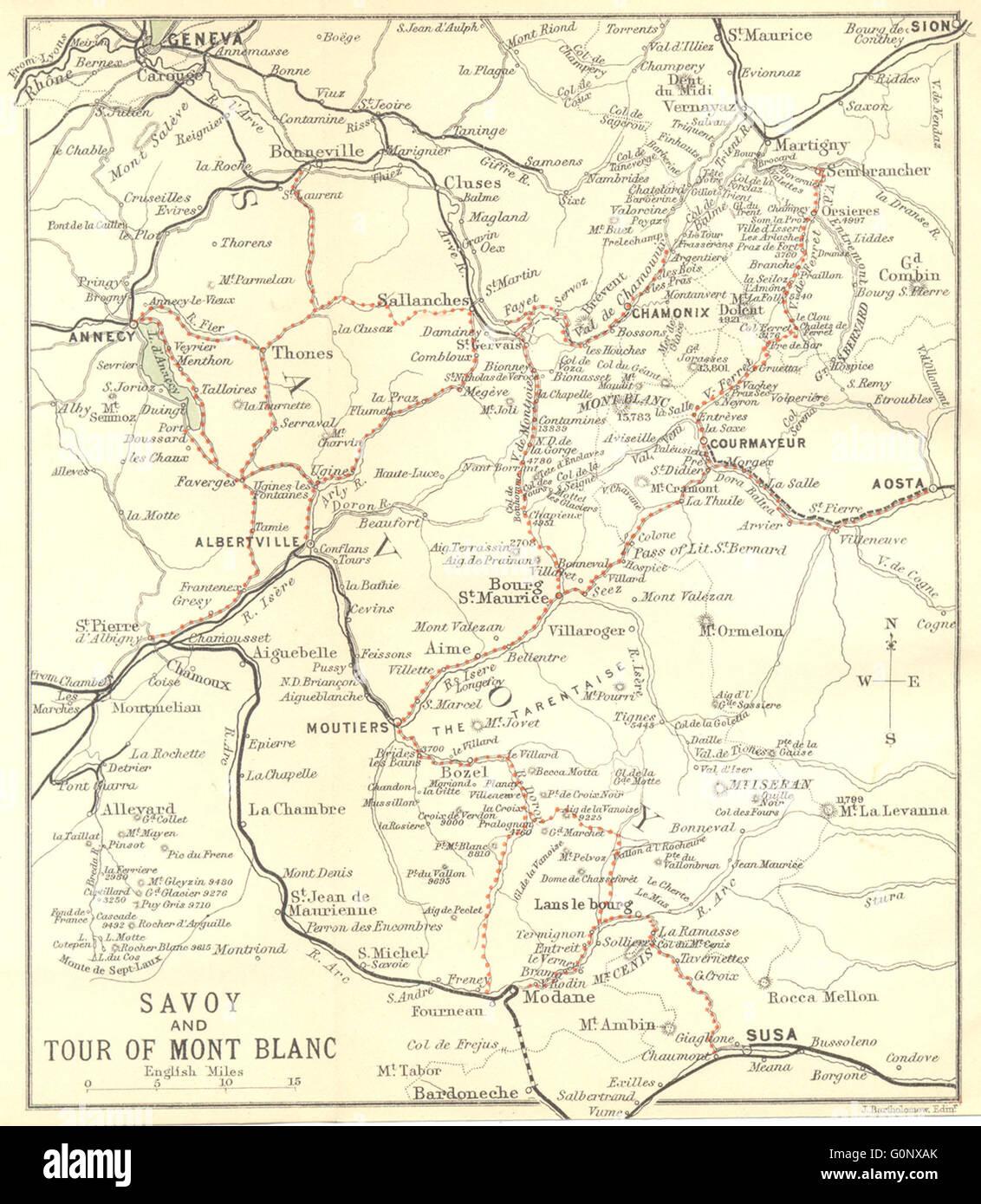 Mont Blanc France Map.France Savoie Tour Of Mont Blanc 1899 Antique Map Stock Photo