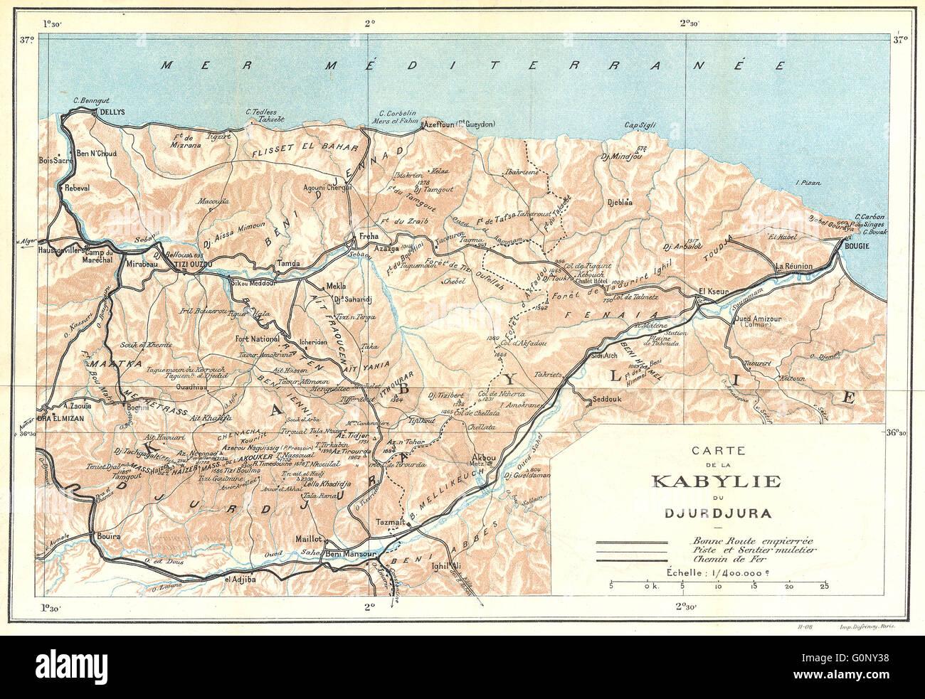 Carte De La Kabylie.Algeria Carte De Kabylie Du Djurdjura 1909 Antique Map