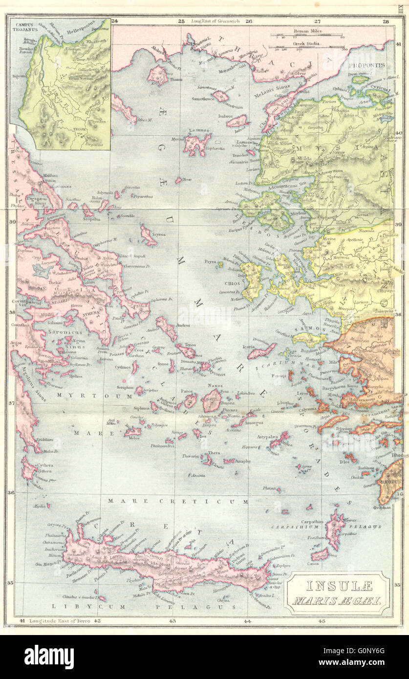 Ancient Greece Aegean Troy 1908 Antique Map Stock Photo