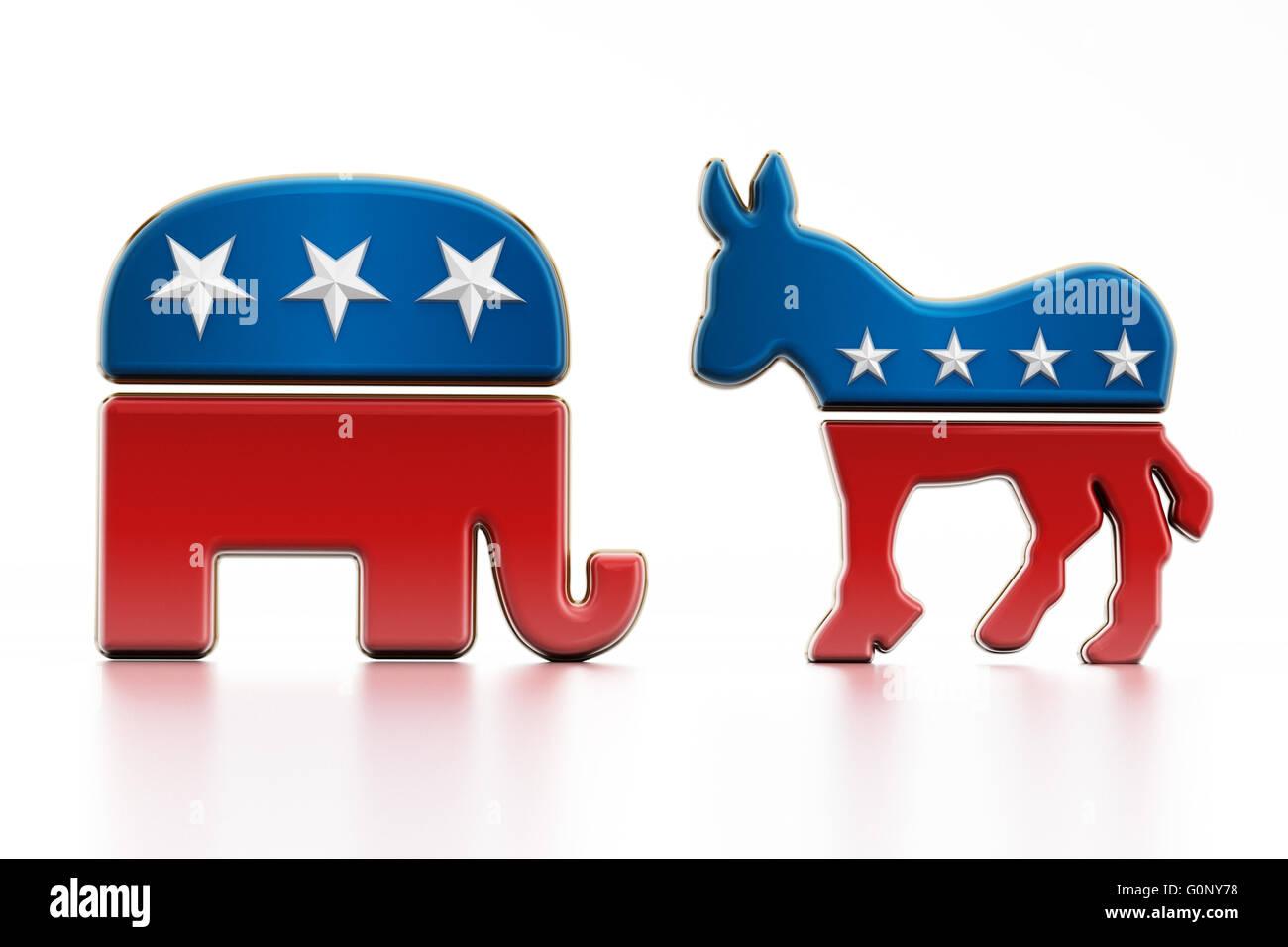 Usa Political Party Symbols Isolated On White Background Elephant