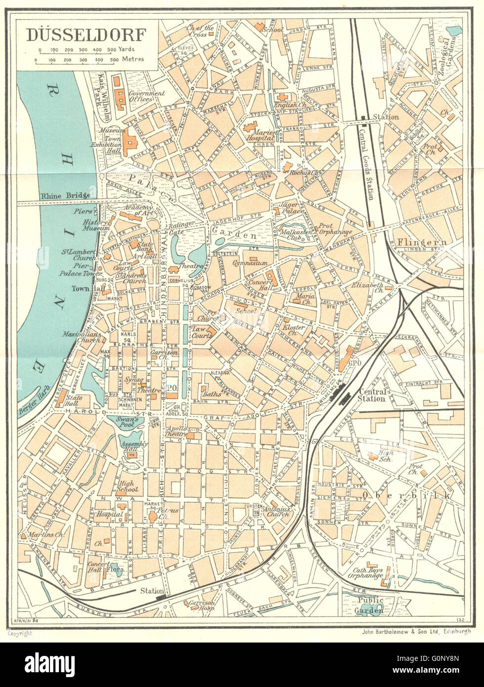Map Of Germany Showing Dusseldorf.Germany Dusseldorf 1931 Vintage Map Stock Photo 103744613 Alamy
