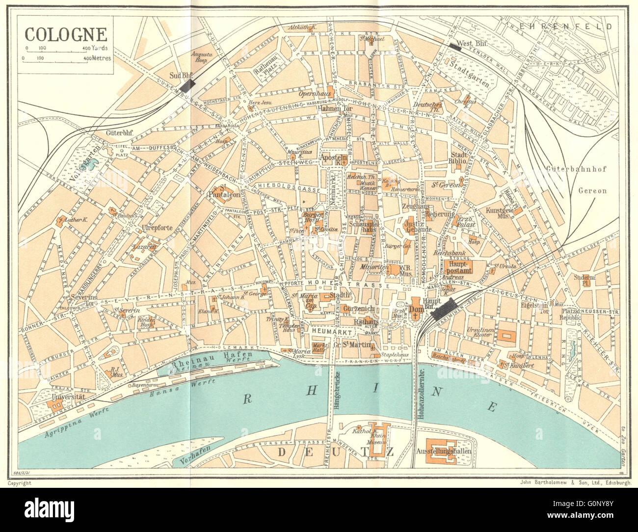 germany cologne 1931 vintage map