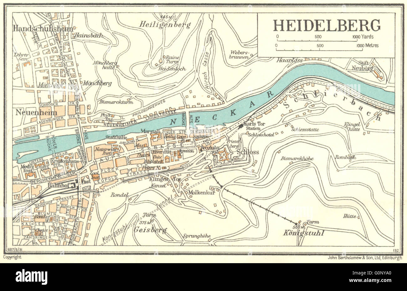 germany heidelberg 1931 vintage map