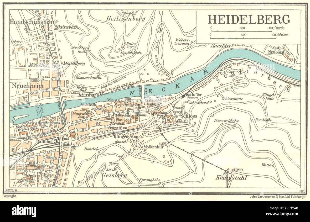 germany heidelberg 1931 vintage map