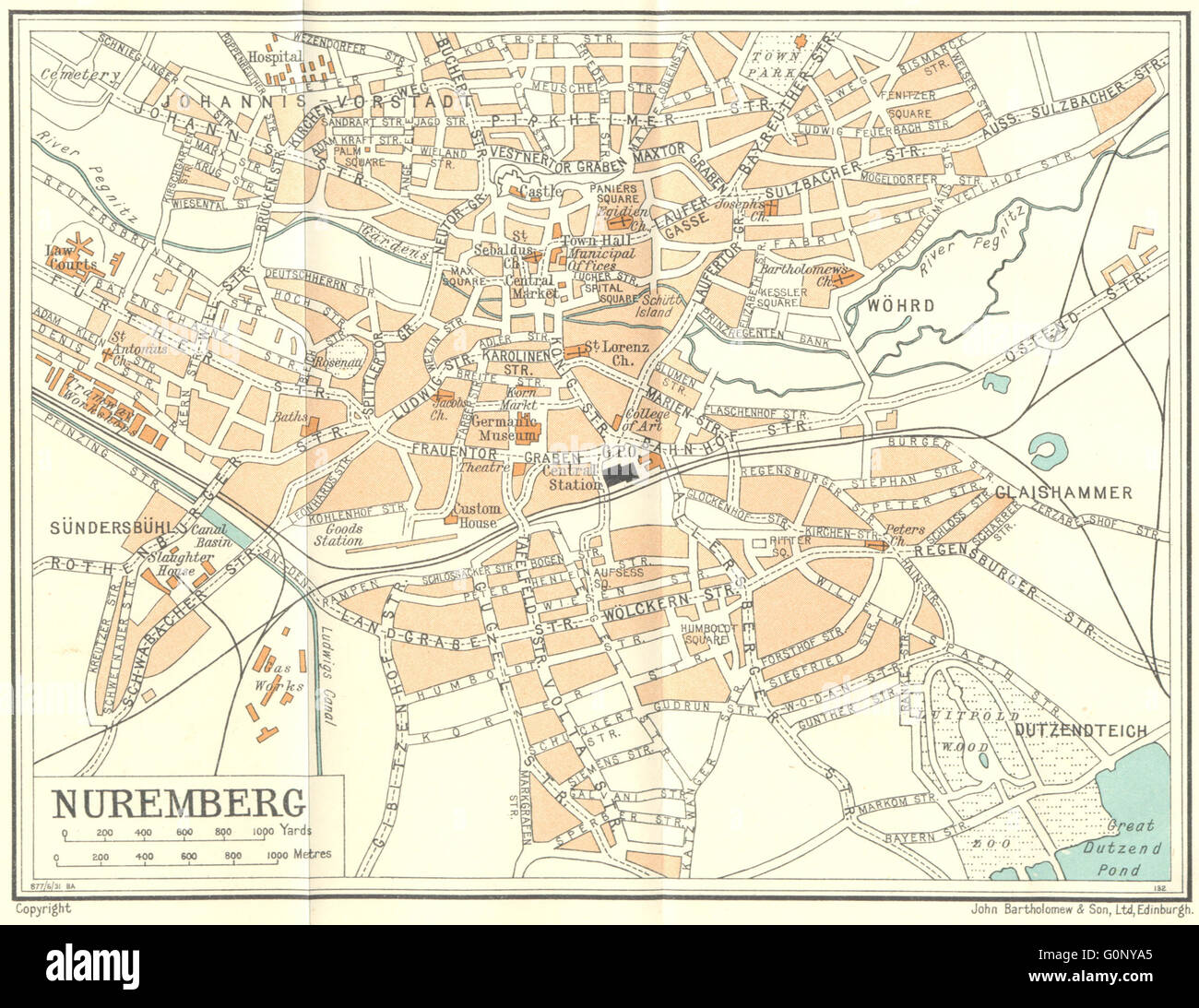 Map Of Germany Nuremberg.Germany Nuremberg 1931 Vintage Map Stock Photo 103744653 Alamy