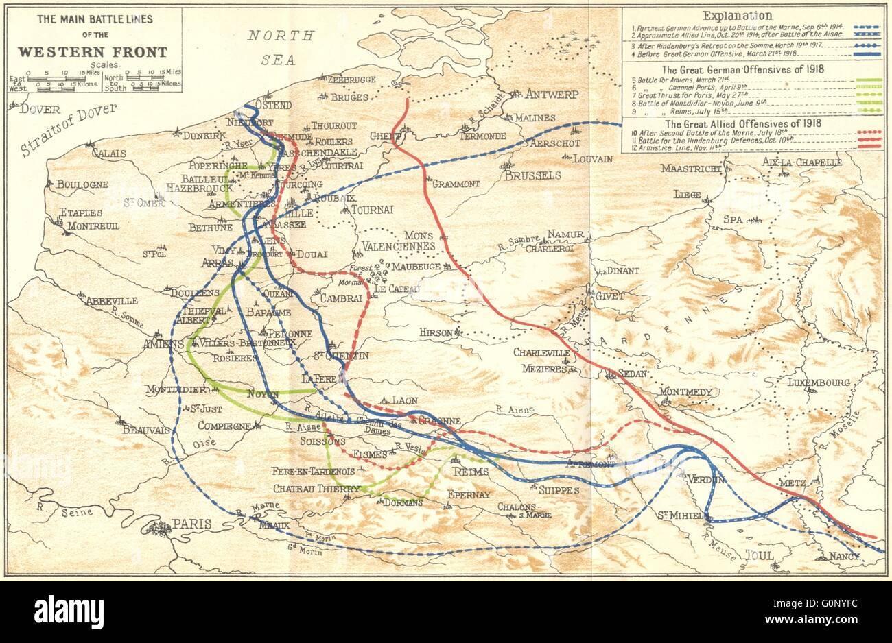 Belgium main battle lines of western front first world war ww1 belgium main battle lines of western front first world war ww1 1924 map gumiabroncs Gallery