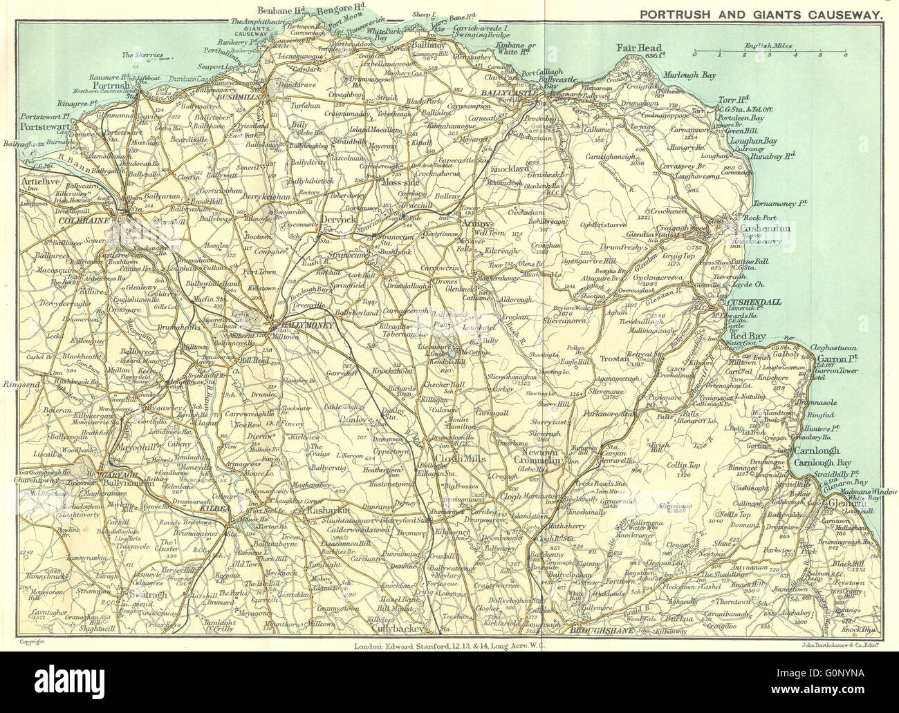 ULSTER: Portrush & Giants Causeway, 1912 antique map - Stock Image