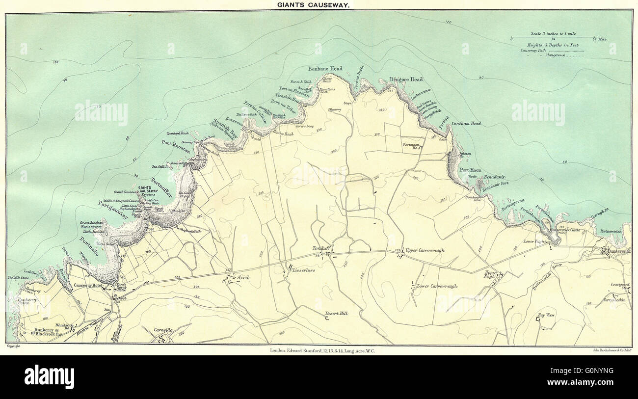 ULSTER: Giants Causeway, 1912 antique map - Stock Image