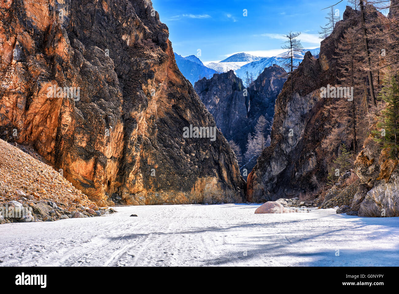 White Irkut River Canyon in early May . Eastern Sayan . Buryatia - Stock Image