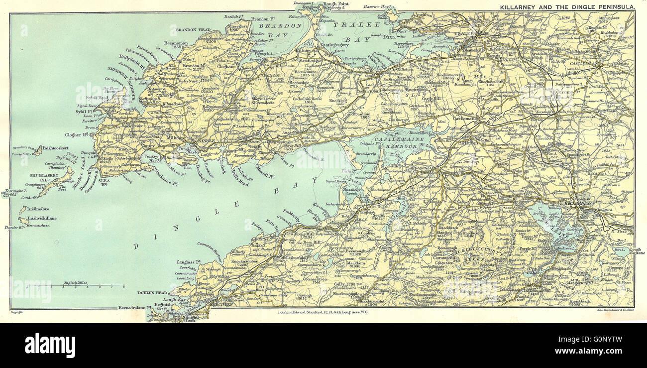 IRELAND: Killarney & Dingle Peninsula, 1912 antique map Stock Photo on