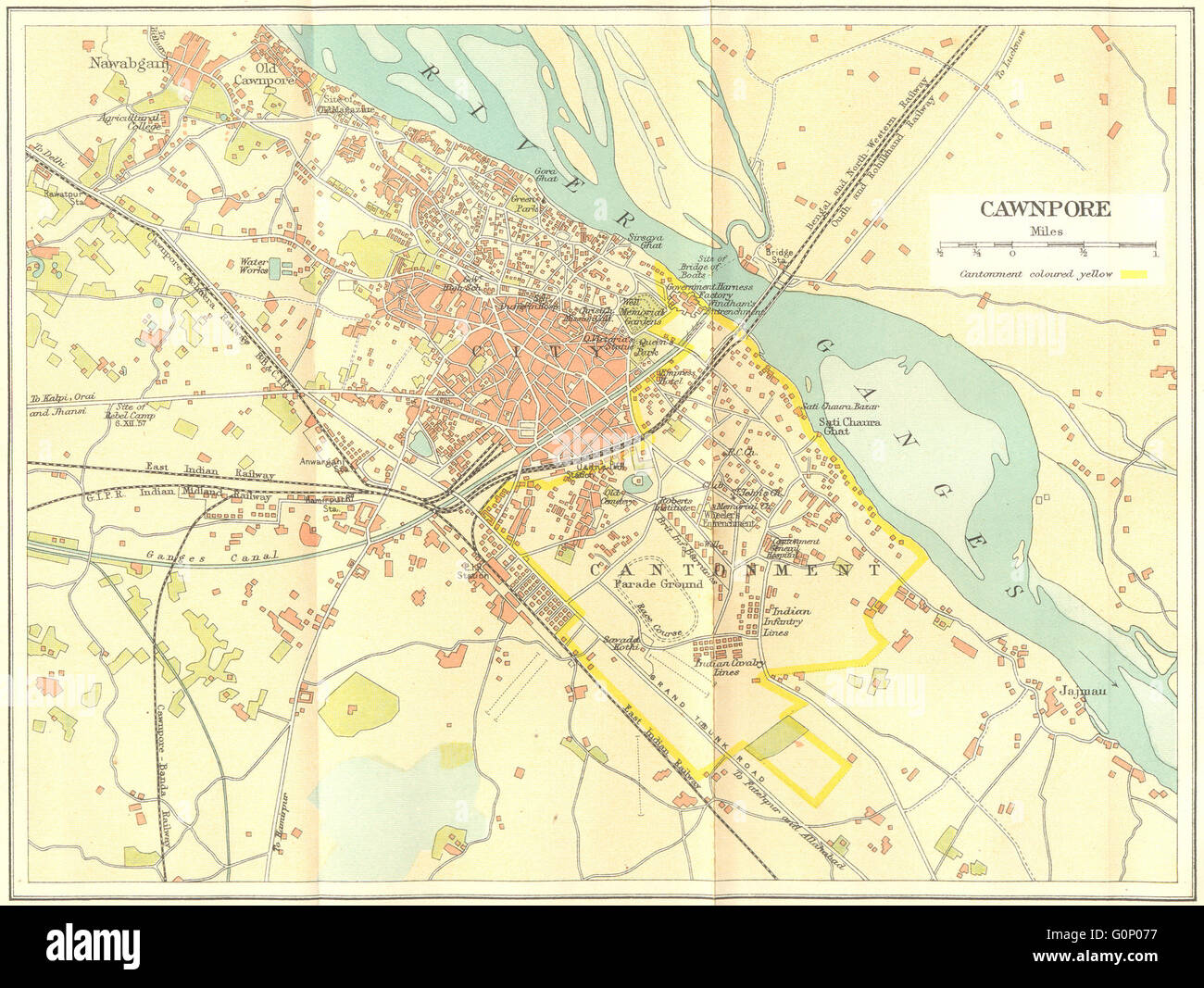 British India Cawnpore Kanpur City Plan Showing Cantonment 1924