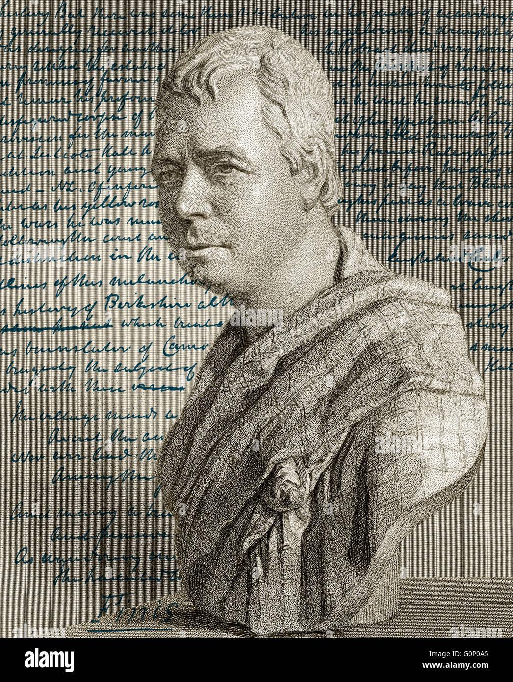 Portrait and manuscript of the novel Kenilworth by Sir Walter Scott, 1st Baronet of Abbotsford, 1771 - 1832, Scottish Stock Photo