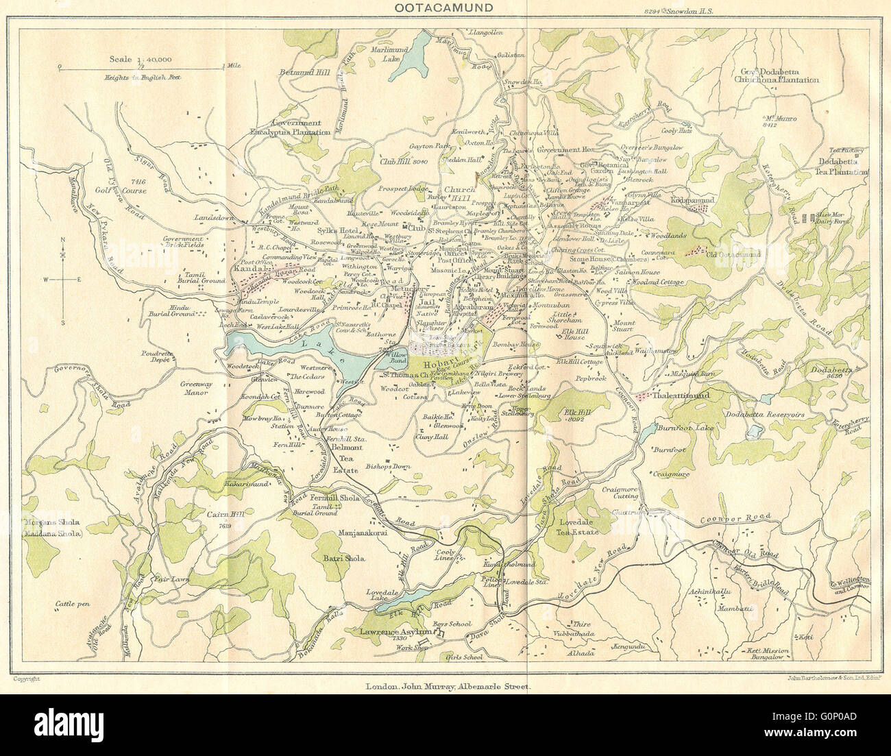 Ooty In India Map.British India Ootacamund Udhagamandalam Udhagai Ooty Hill Stock