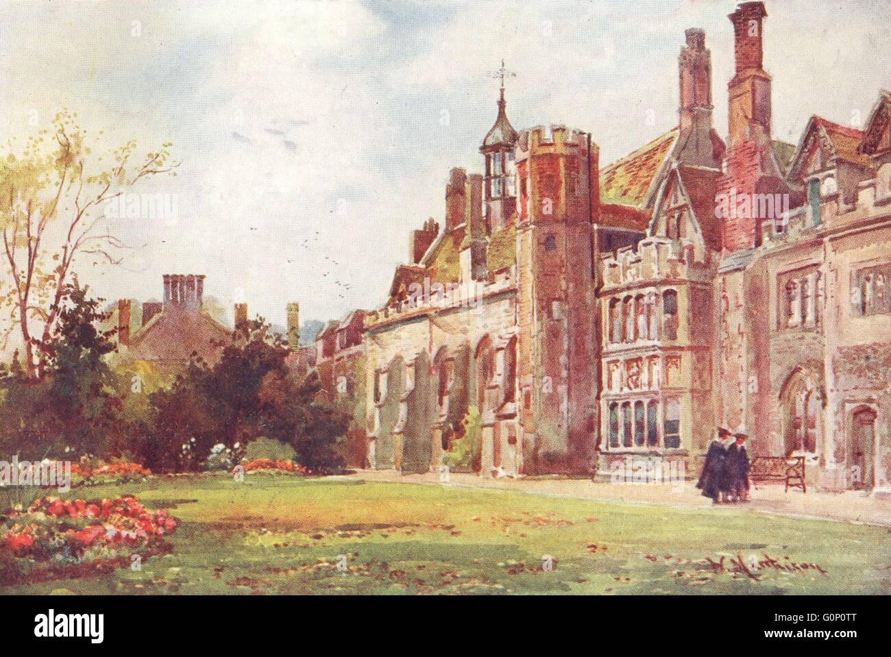 CAMBRIDGE: Colleges: Peterhouse Fellow's garden, antique print 1907 - Stock Image