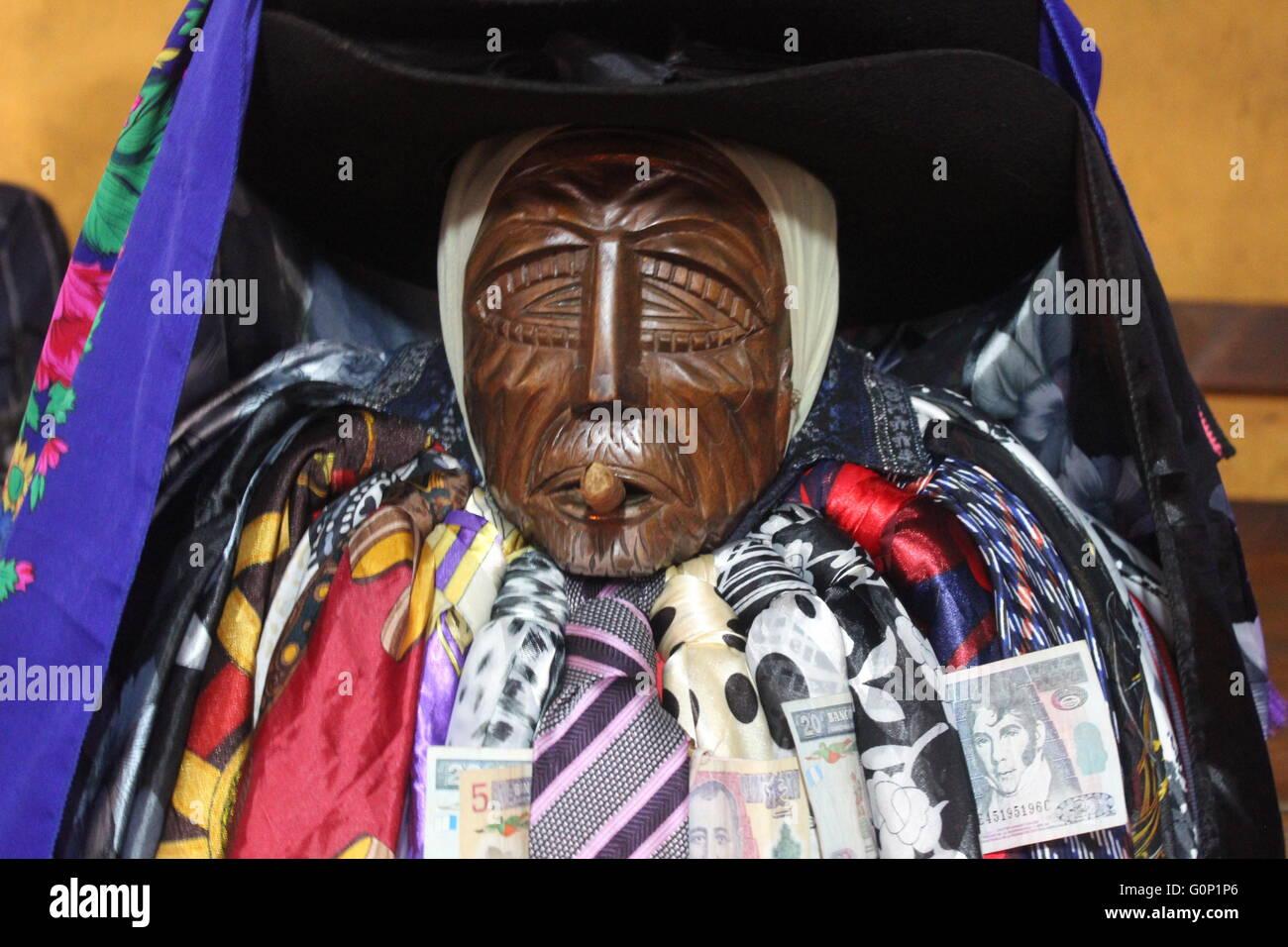 Maximon in Santiago Atitlan, Guatemala Stock Photo