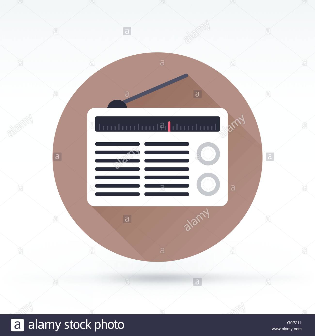 Flat style with long shadows, radio vector icon illustration. - Stock Image