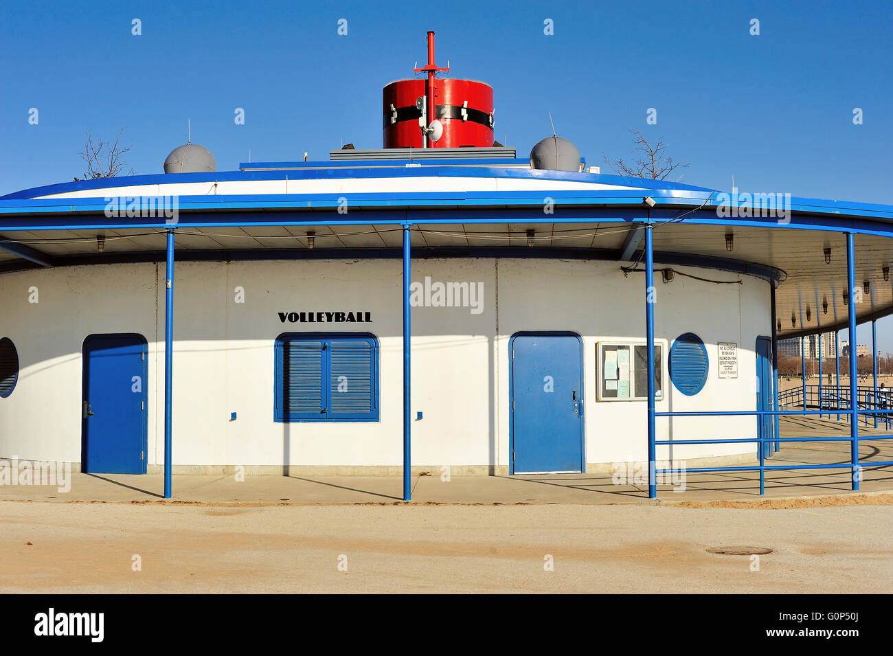 The landmark, boat-shaped boathouse at Chicago's North Avenue Beach. The structure houses a variety of conveniences. Stock Photo
