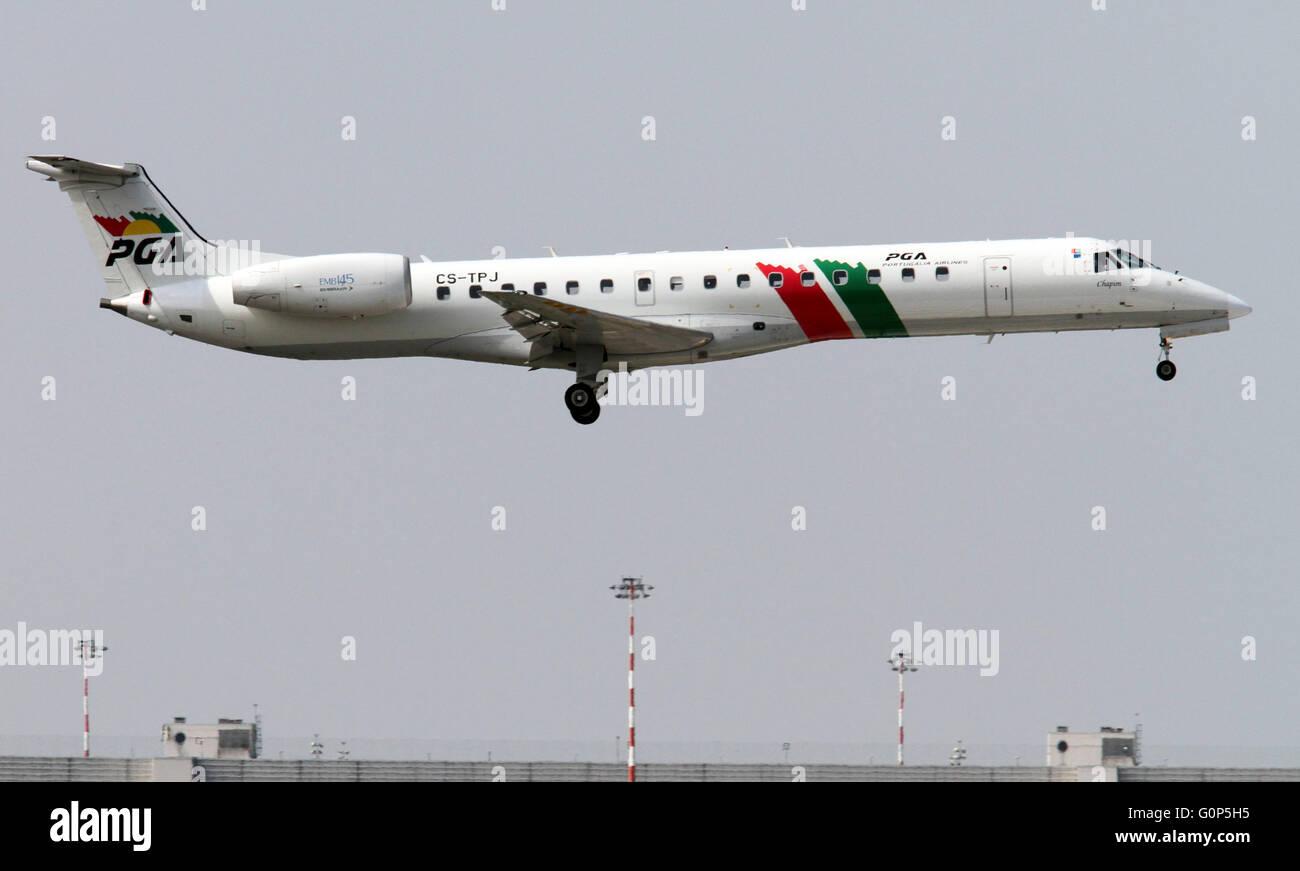 PGA Portugalia Airlines Embraer 135/145 - Stock Image
