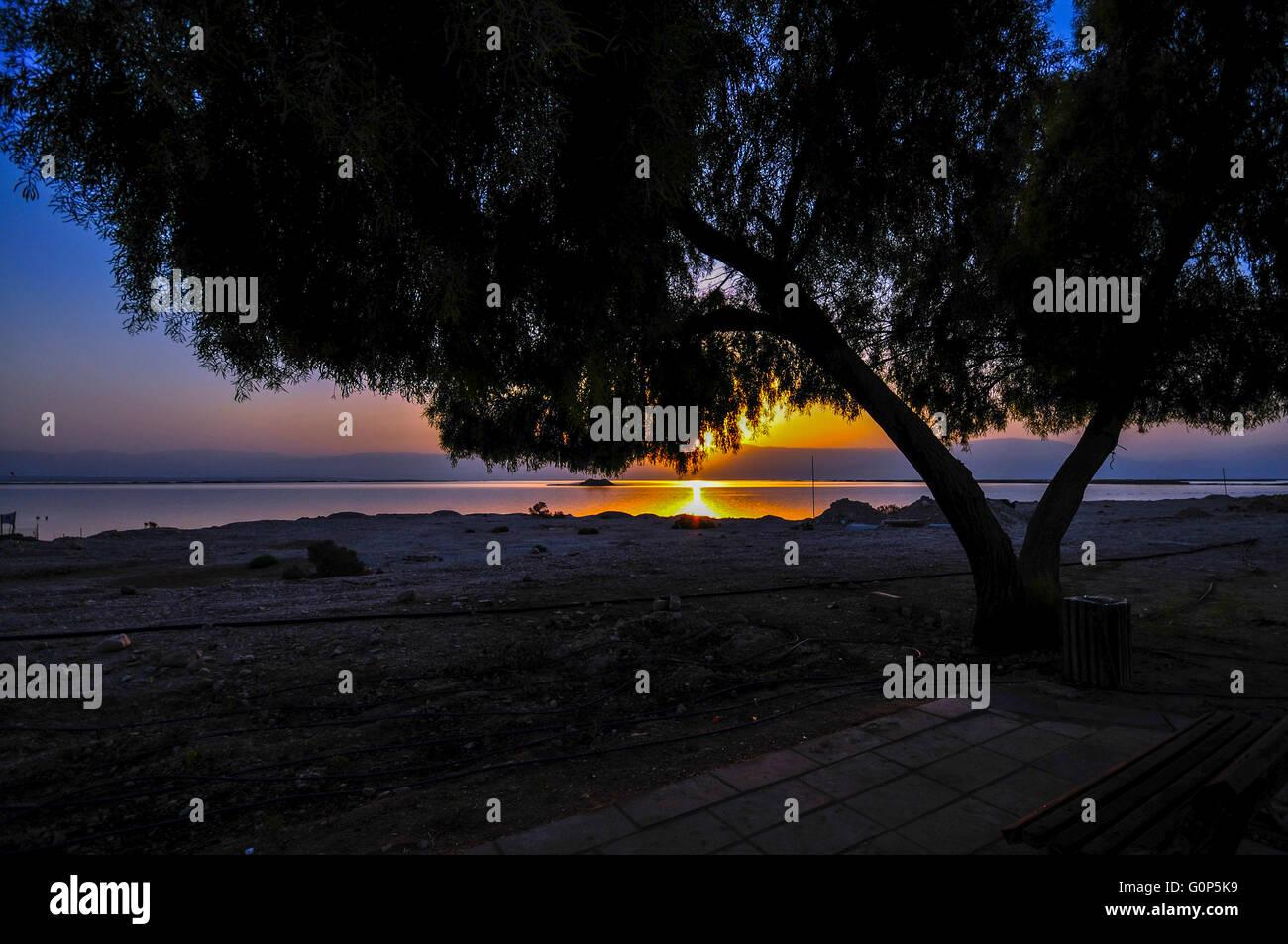 Sun rises over the Dead Sea, Israel - Stock Image