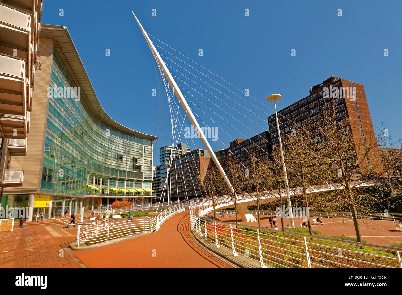 The Lowry Hotel and Trinity Bridge, Clermont Ferrand Square, City of Salford, Greater Manchester, England - Stock Image