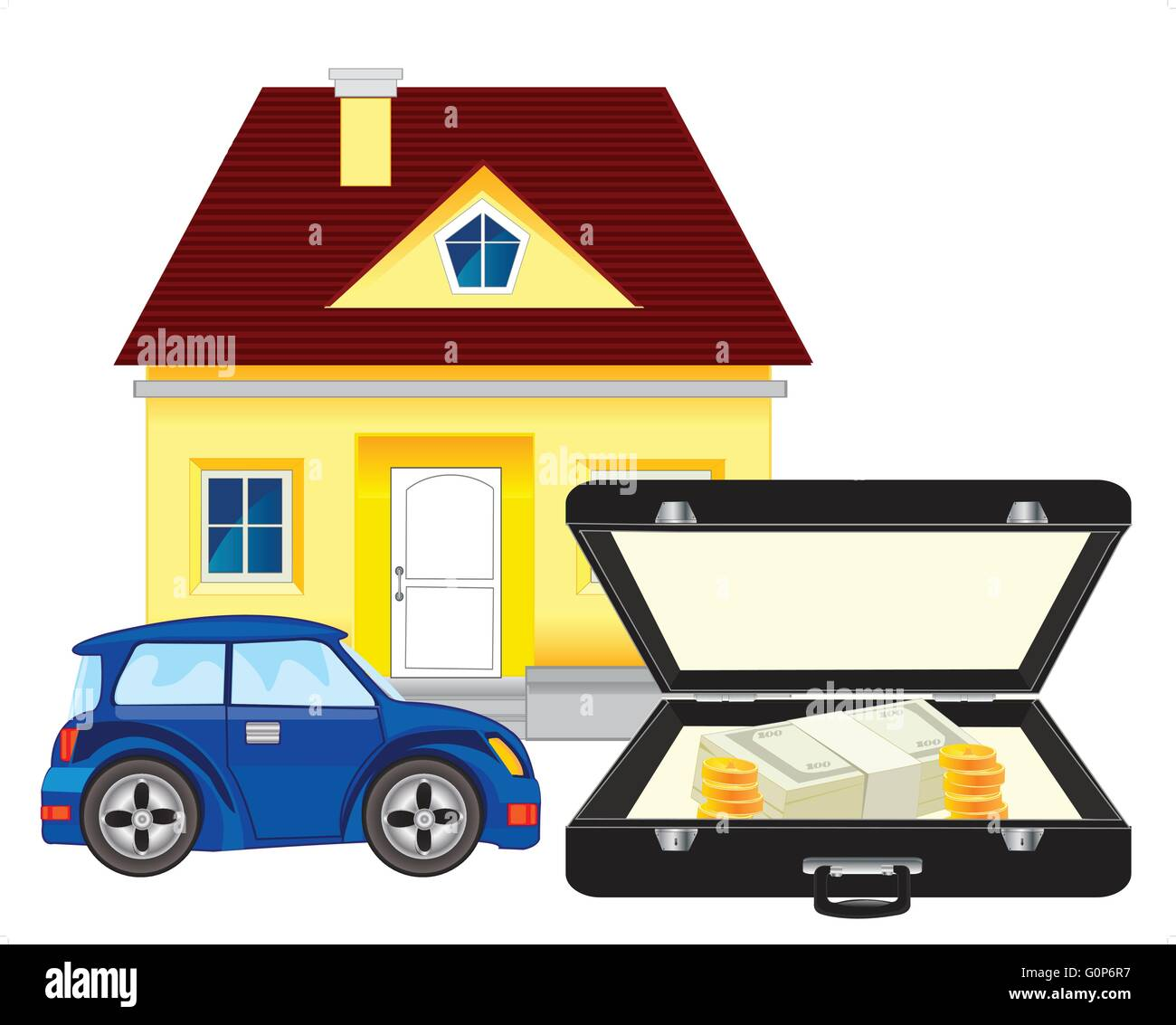 Money and car with house - Stock Vector