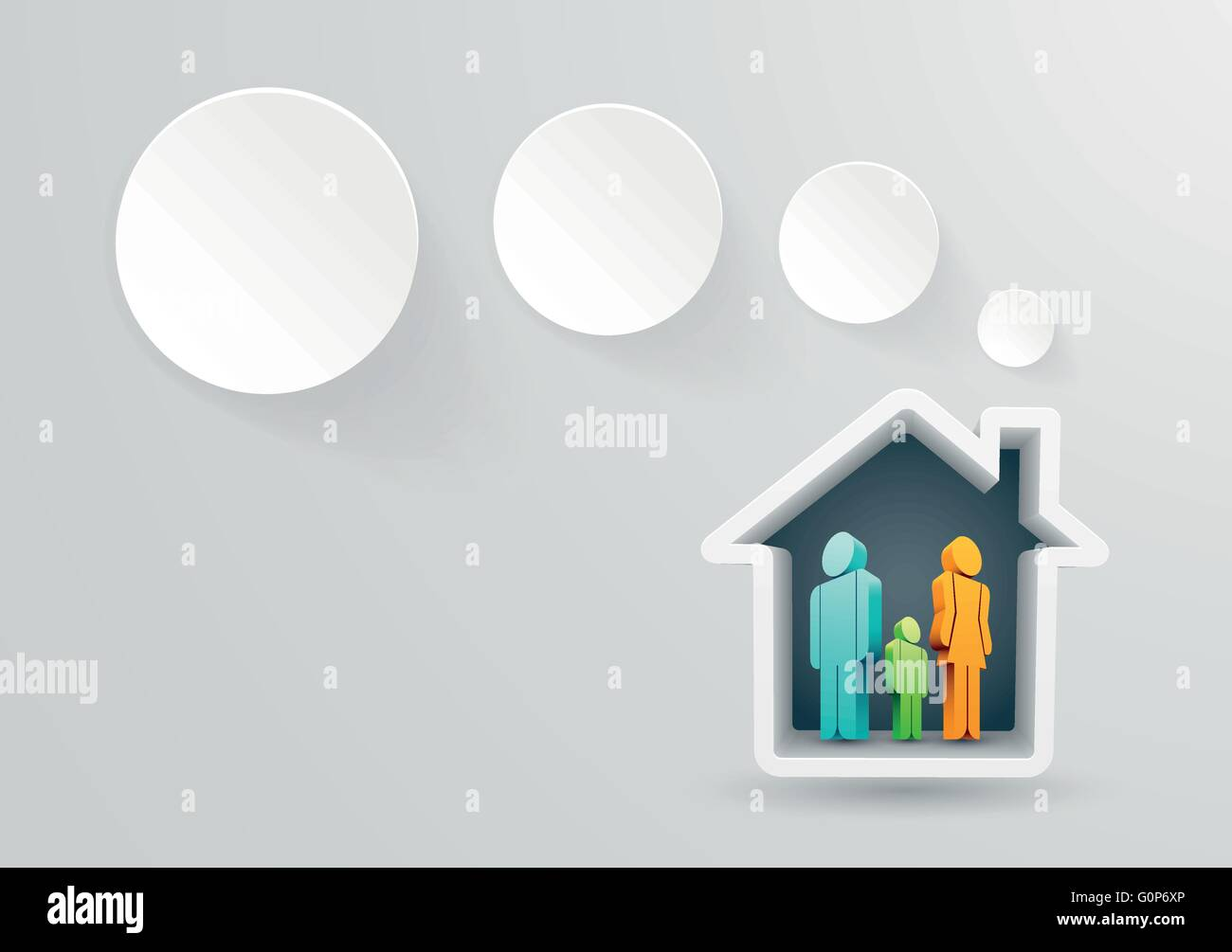 Vector illustration of real estate themed house with family. - Stock Vector