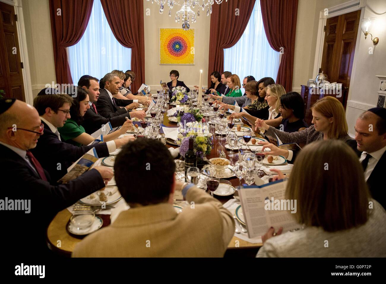 U.S President Barack Obama and First Lady Michelle Obama host a Passover Seder dinner with friends and staff in - Stock Image