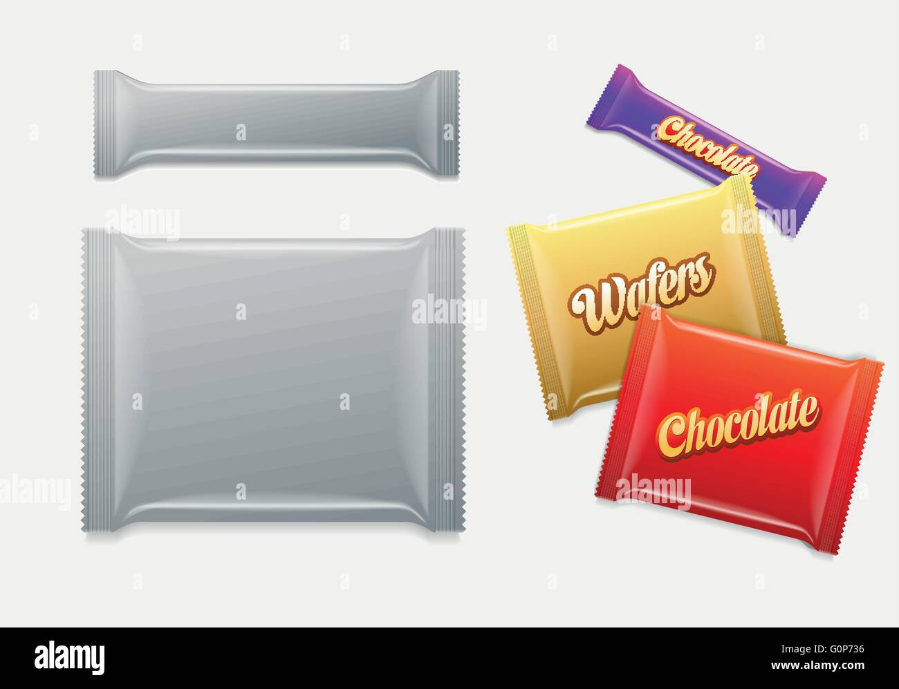 Plastic Package. Chocolate, wafers, sweets or candy pack.  Easy editable. Elements are layered separately. Just - Stock Image