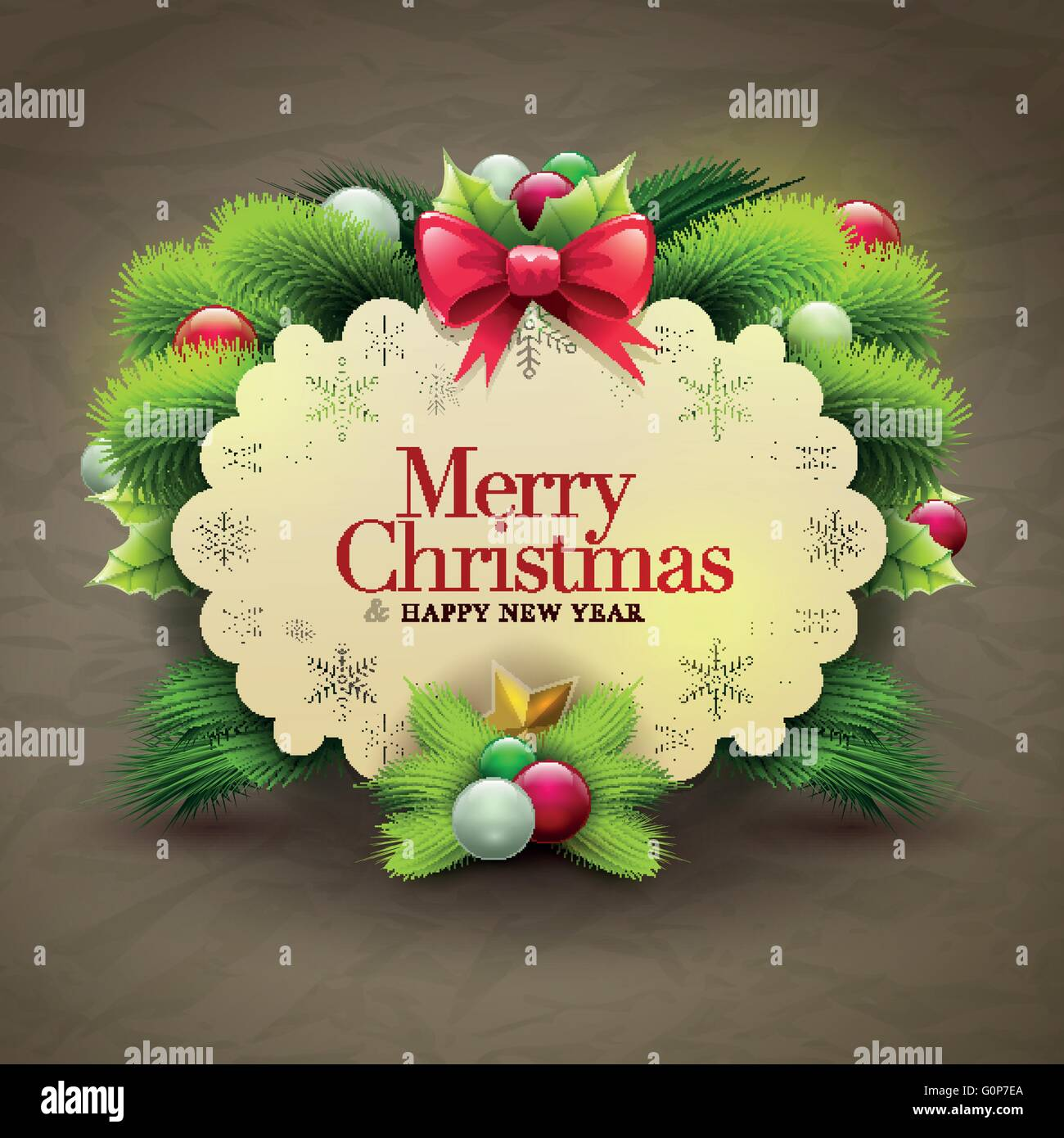 Christmas Invitation Message Card With Ornaments Vector