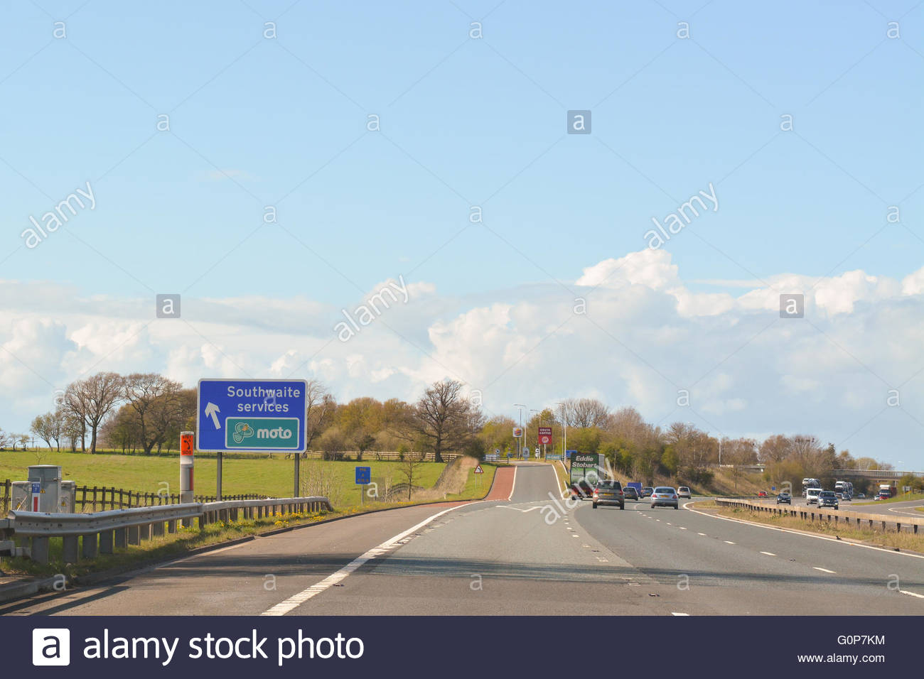 Southwaite moto services between junctions 41 and 42 of the M6 motorway northbound, Southwaite, Cumbria, England - Stock Image