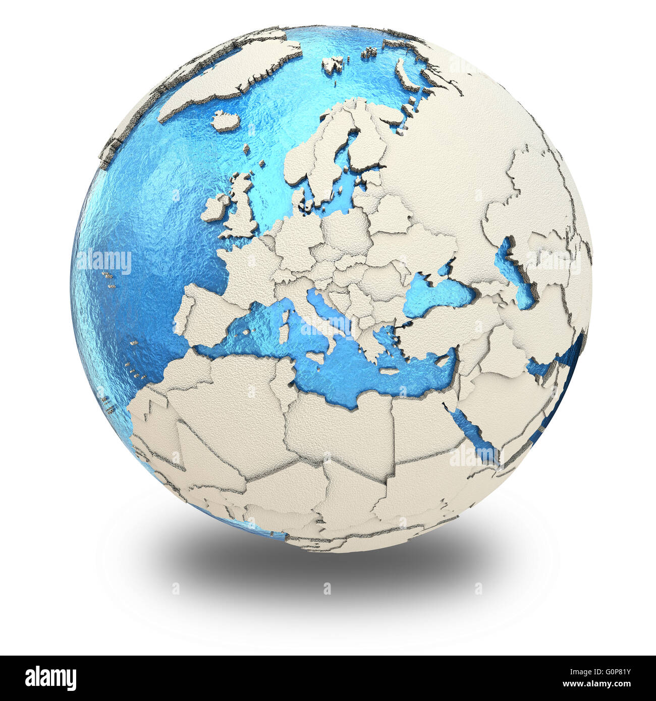 Europe on 3d model of blue earth with embossed countries and blue europe on 3d model of blue earth with embossed countries and blue ocean 3d illustration isolated on white background with shado gumiabroncs Image collections