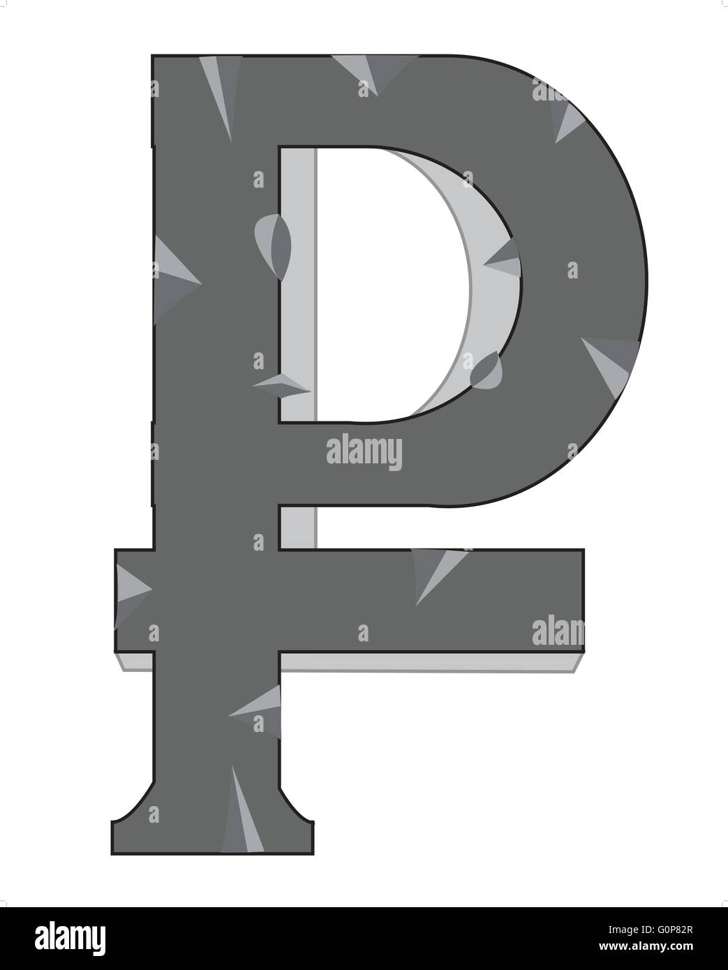 Sign Russia money  from stone on white background - Stock Vector