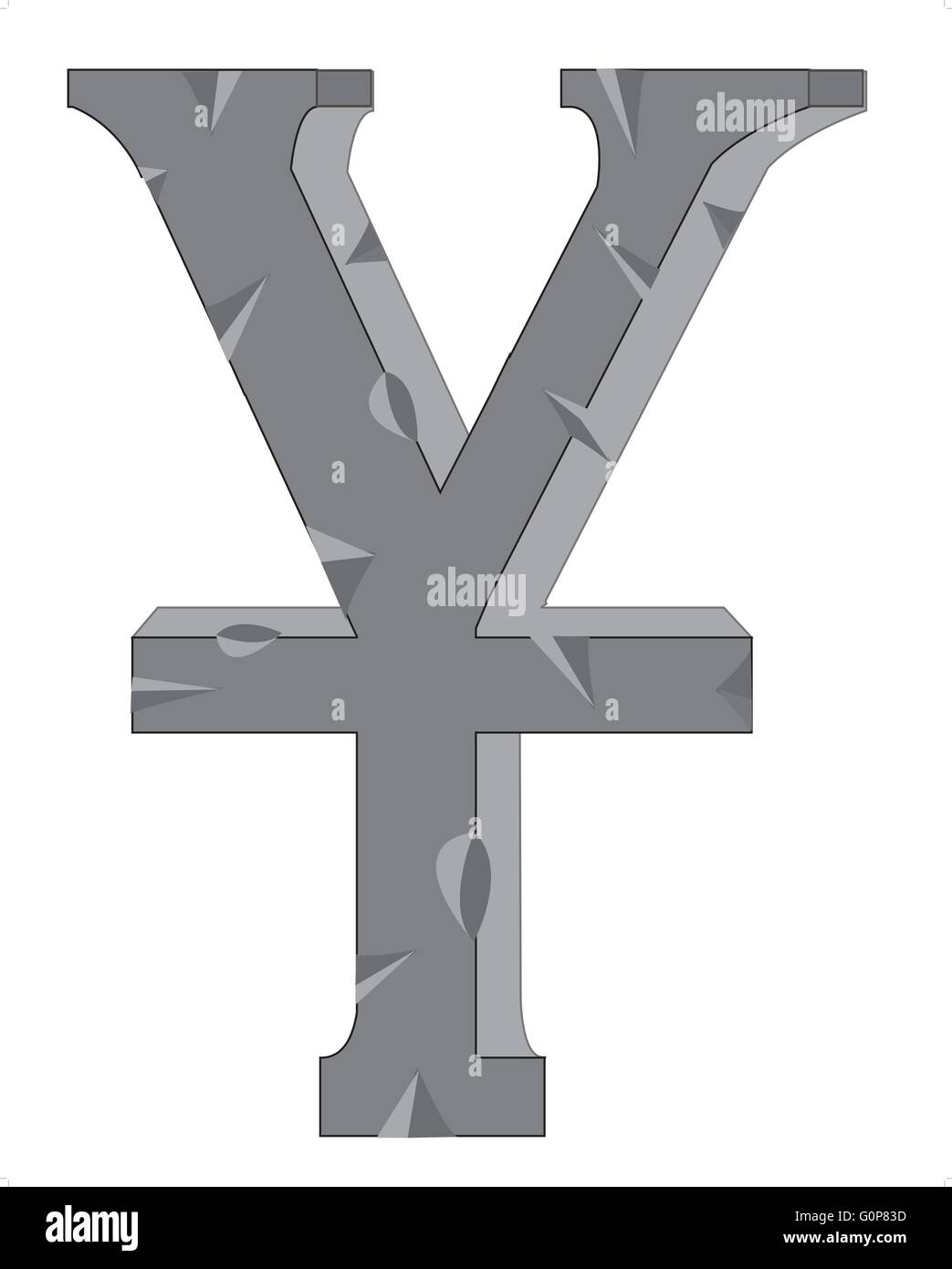 Sign Yuan  from stone on white background - Stock Vector