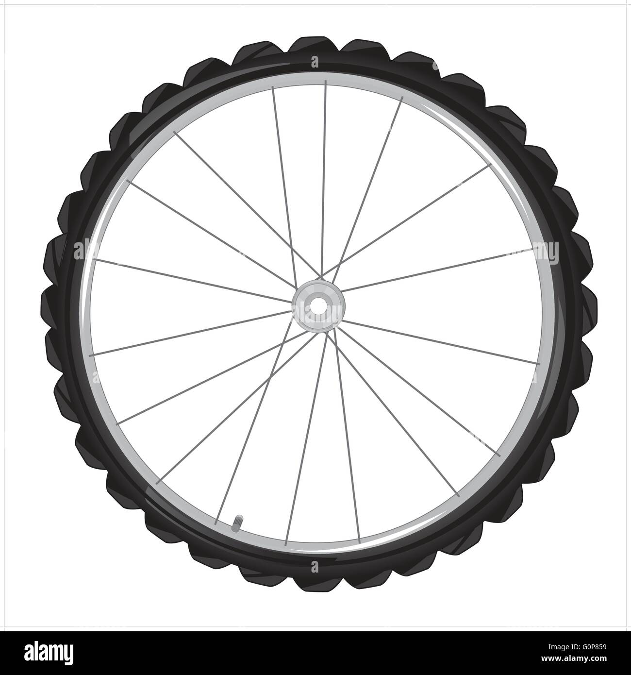 Wheel from bicycle on white background is insulated - Stock Vector