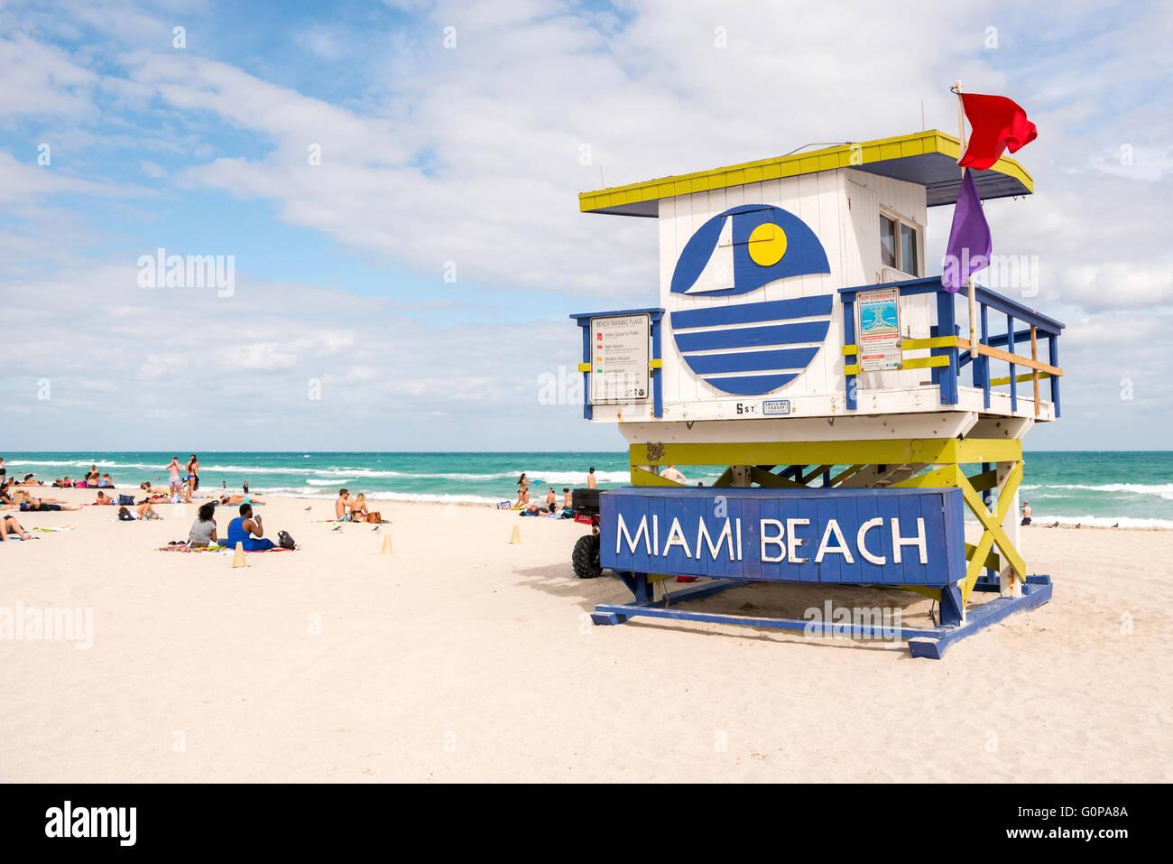 Miami Beach, Florida, USA life guard tower Stock Photo