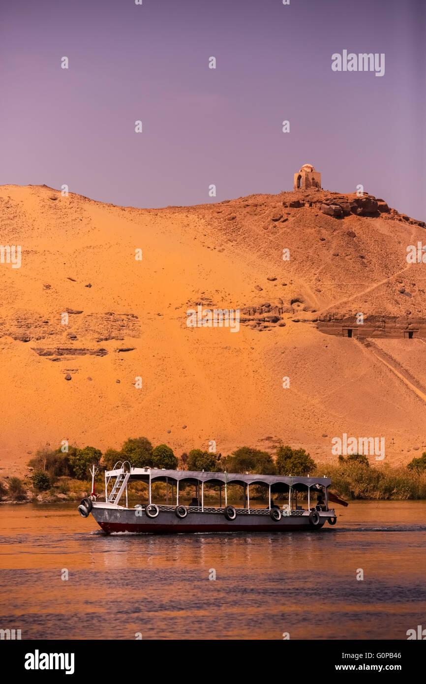 Nile near Aswan, landscape, Egypt - Stock Image