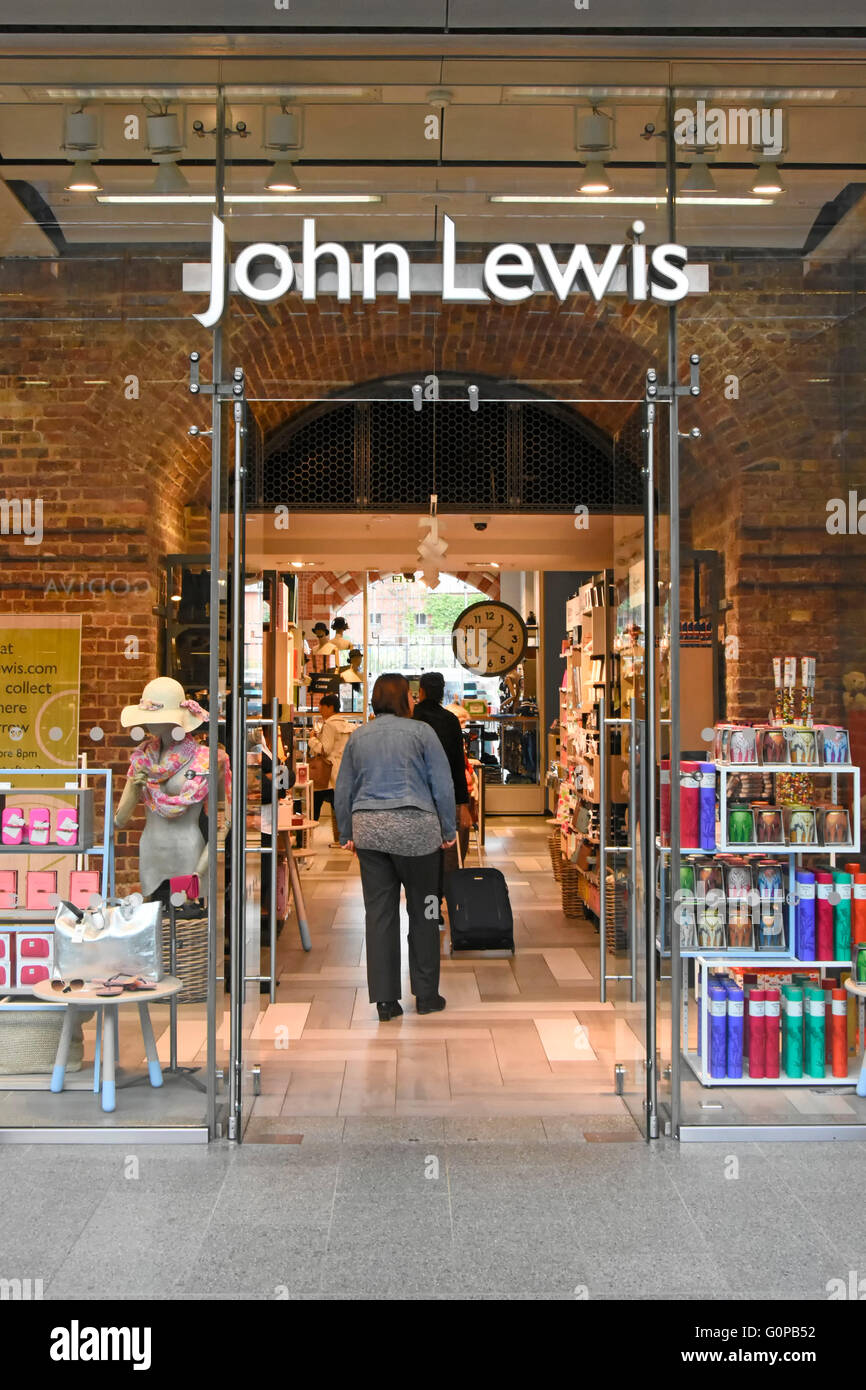 John Lewis glass fronted shop in St Pancras International train station London Borouigh of Camden England UK - Stock Image