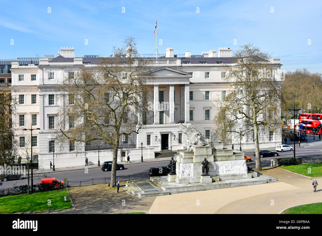 Lanesborough Neoclassical five star Hotel formally St George's Hospital at Hyde Park Corner London England UK with - Stock Image