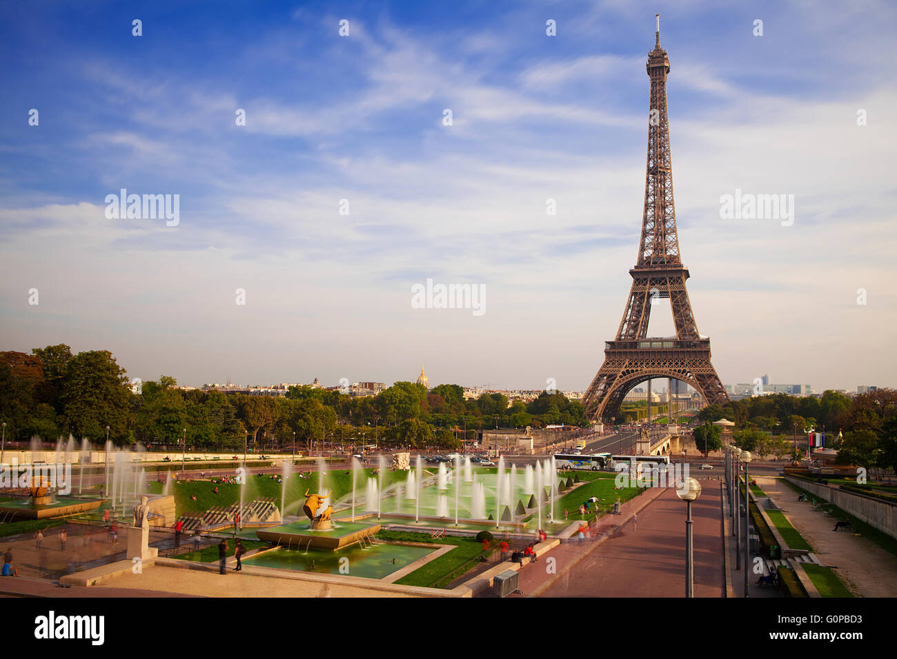 Eiffel Tower and fountains of Trocadero, Paris,  France - Stock Image