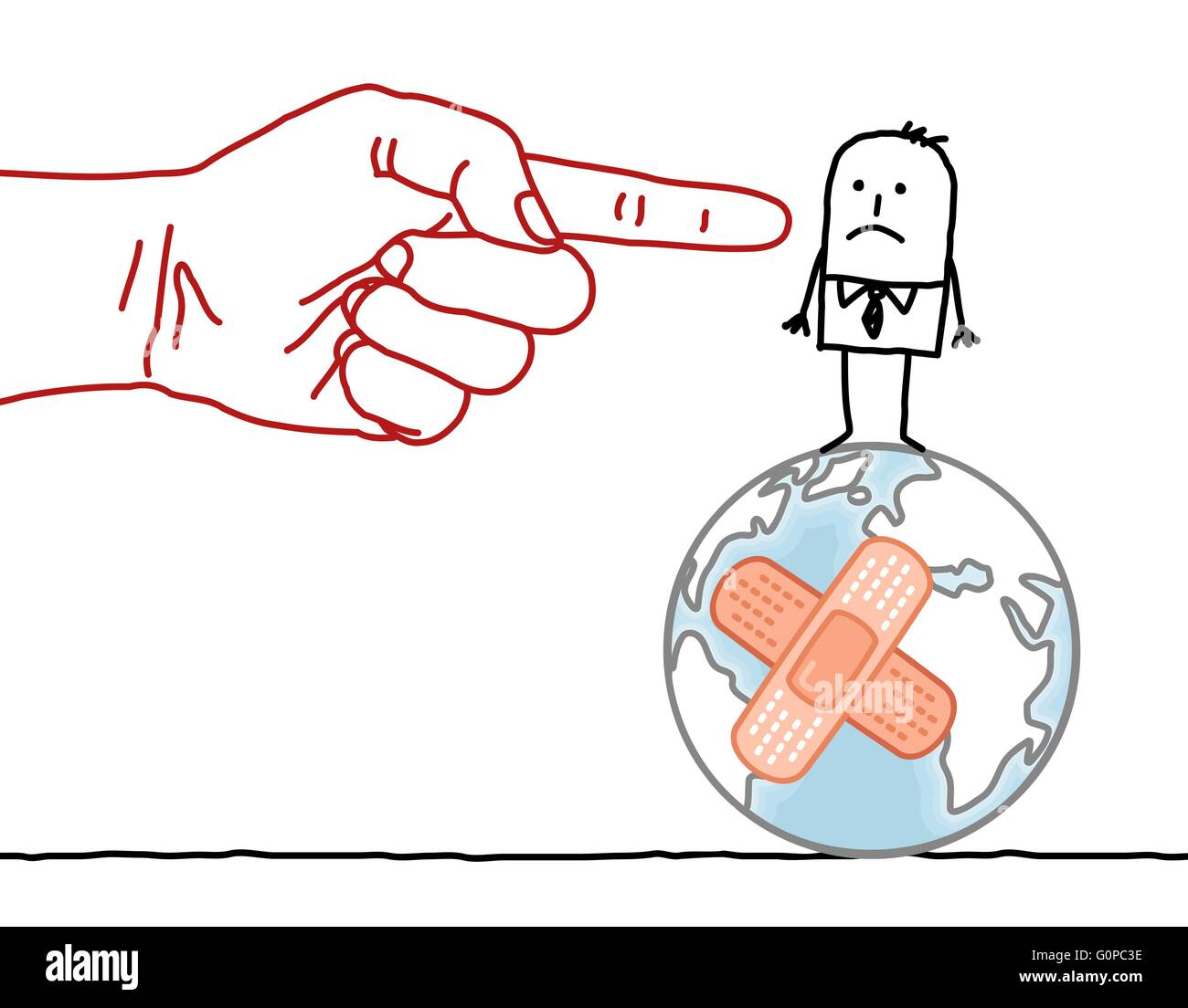 big hand and cartoon character - man on damaged Earth - Stock Image
