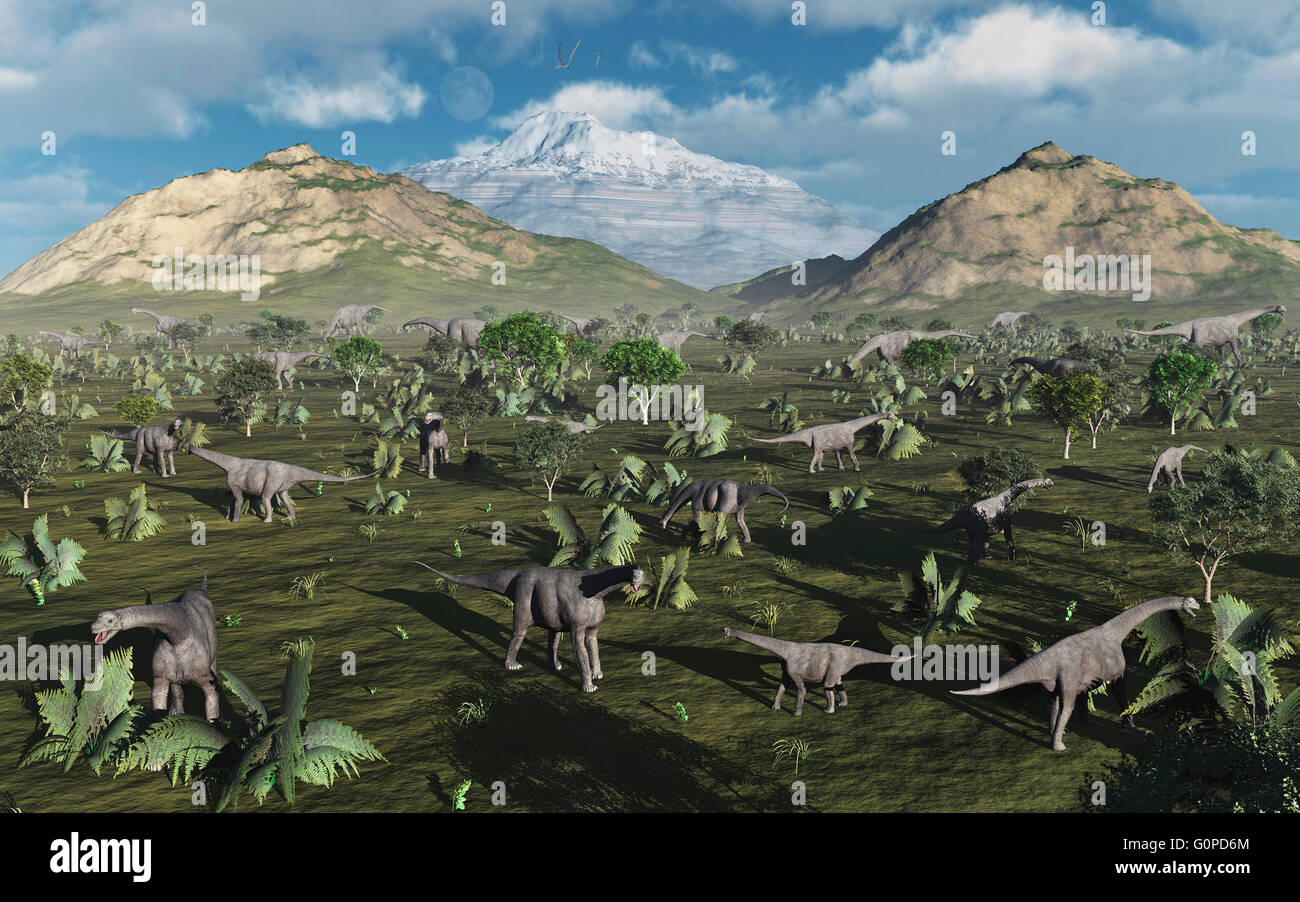 A Herd Of Camarasaurus Dinosaurs. Stock Photo